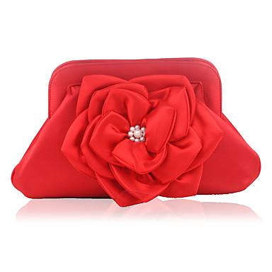 abordables Sacs-Femme Billes / Fleur Satin Pochette Couleur unie Rouge / Automne hiver