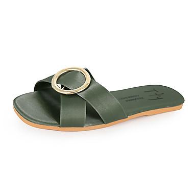 voordelige Damespantoffels & slippers-Dames Slippers & Flip-Flops Platte hak Polyester Zomer Geel / Groen / Roze
