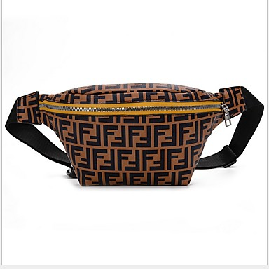Men's Zipper Fanny Pack PU(Polyurethane) Snakeskin Brown
