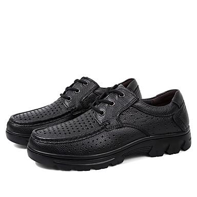 בגדי ריקוד גברים נעלי עור עור נאפה Leather קיץ קלסי / יום יומי נעלי אוקספורד הליכה נושם שחור