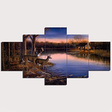 Painettu Pingoitetut kanvasprintit - Maisema Perinteinen Moderni 5 paneeli Art Prints