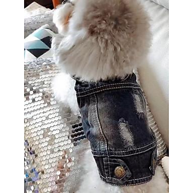 abordables Vêtements & Accessoires pour Chat-Chien Vestes en Jean Vêtements pour Chien Jeans Bleu Toile de jean Costume Pour Printemps & Automne Hiver Homme Femme cow-boy Mode
