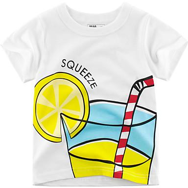 baratos Camisas para Meninos-Bébé Para Meninos Moda de Rua Estampado Manga Curta Algodão Camiseta Branco