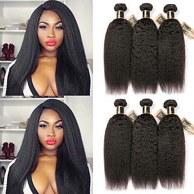 baratos Extensões de Cabelo Natural-6 pacotes Cabelo Brasileiro Kinky Liso 100% Remy Hair Weave Bundles Cabelo Humano Ondulado Cabelo Bundle Um Pacote de Solução 8-28 polegada Côr Natural Tramas de cabelo humano Brilhante Venda