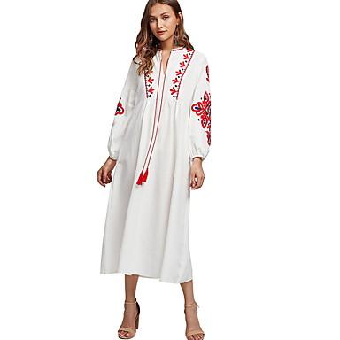 לבוש מסורתי ותרבותי Abaya בגדי ריקוד נשים לבוש יומיומי פוליאסטר ריקמה שרוול ארוך עבאיה