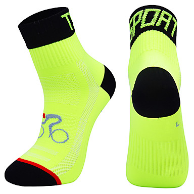 cheap Cycling Shoes-Compression Socks Sport Socks / Athletic Socks Crew Socks Cycling Socks Men's Football / Soccer Cycling / Bike Bike / Cycling Breathable Wearable 1 Pair Winter Solid Color Chinlon Orange Green Blue M