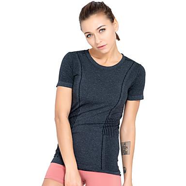 בגדי ריקוד נשים יוגה למעלה צבע אחיד יוגה ריצה כושר וספורט טי שירט שרוולים קצרים לבוש אקטיבי קל משקל נושם תומך זיעה מיקרו-אלסטי