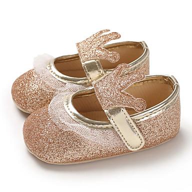 저렴한 9개월-4세 연령대-여아 PU 플랫 유아 (0-9m) / 유아 (9m-4ys) 첫 신발 블랙 / 실버 / 피치 봄 / 여름