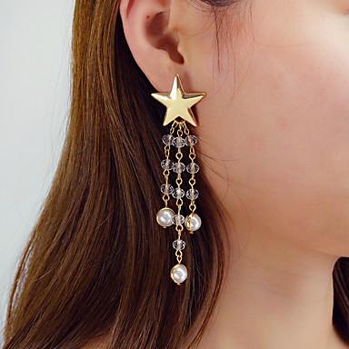בגדי ריקוד נשים עגילי טיפה גיאומטרי כוכב מסוגנן טרנדי אלגנטית דמוי פנינה עגילים תכשיטים לבן / שחור עבור Party יומי פֶסטִיבָל זוג 1