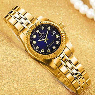 baratos Relógios de Diamante-Mulheres Relógios de Quartzo Luxo Fashion Dourada Aço Inoxidável Chinês Quartzo Dourado Branco Preto Impermeável Calendário Relógio Casual 30 m 1 Pça. Analógico Um ano Ciclo de Vida da Bateria
