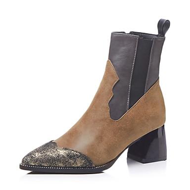 7dba5a07 Dame Støvler Fashion Boots Tykk hæl Spisstå PU Støvletter Vintage / Britisk  Høst vinter Svart / Brun / Fest / aften