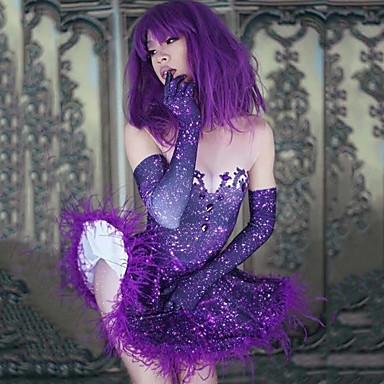 אקזוטי Dancewear חליפת גוף עם אבני חן מזויפות / האנפו בגדי ריקוד נשים הצגה ספנדקס נוצות \ פרווה / תכשיט אקריליק ללא שרוולים שמלה