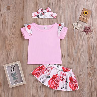 hesapli Bebek Kıyafet Setleri-Bebek Genç Kız Actif / Temel Solid / Desen Fiyonklar / Desen Kısa Kollu Normal Normal Kıyafet Seti Doğal Pembe