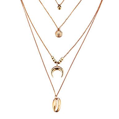 billige Mote Halskjede-Dame lagdelte Hals Mynt Skall Vintage Victoriansk Chrome Gull Sølv 40 cm Halskjeder Smykker 1pc Til Daglig Gate