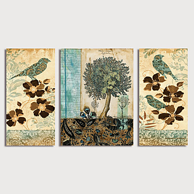 דפוס הדפסי בד מתוחים - ציפורים פרחוני / בוטני מודרני שלושה פנלים הדפסים אמנותיים
