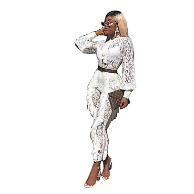מכנס תחרה / קפלים / טלאים, אחיד - סט בסיסי / בוהו בגדי ריקוד נשים
