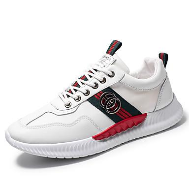 בגדי ריקוד גברים אור סוליות רשת / PU קיץ ספורטיבי / יום יומי נעלי אתלטיקה ריצה / הליכה נושם לבן / כסף