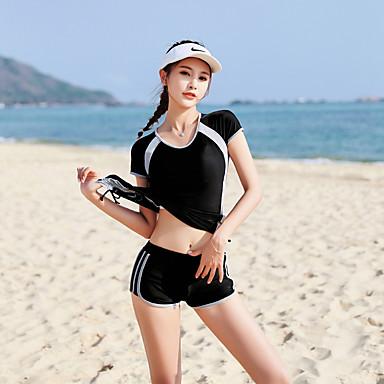 בגדי ריקוד נשים שני בגד ים ספנדקס בגדי ים ייבוש מהיר שרוולים קצרים 2חלקים - שחייה גלישה טלאים קיץ / סטרצ'י (נמתח)