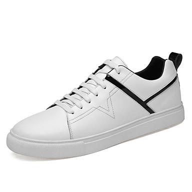 בגדי ריקוד גברים נעלי עור עור אביב קיץ / סתיו חורף ספורטיבי / יום יומי נעלי ספורט הליכה ללא החלקה לבן / שחור
