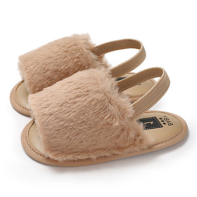 d8c206122 Girls' Faux Fur Sandals Infants(0-9m) / Toddler(9m-4ys) First Walkers Brown  / Pink / Dark Red Summer