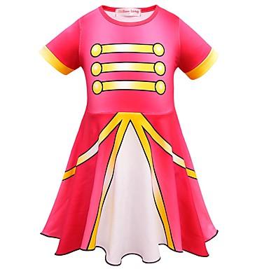 お買い得  女児 ドレス-子供 幼児 女の子 活発的 ストリートファッション パッチワーク 半袖 膝上 ドレス ルビーレッド