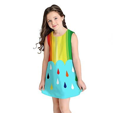 baratos Vestidos para Meninas-Infantil Para Meninas Doce Estilo bonito Estampa Colorida Fruta Manga Curta Acima do Joelho Vestido Azul / Algodão