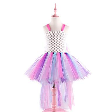 2cad57d3d Kids Toddler Girls' Active Cute White Rainbow Patchwork Backless Mesh  Patchwork Sleeveless Asymmetrical Nylon Dress Rainbow
