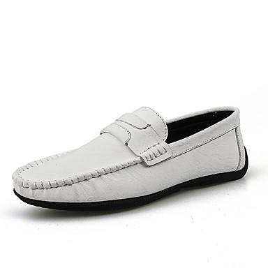 בגדי ריקוד גברים נעלי נוחות מיקרופייבר קיץ / אביב קיץ עסקים / יום יומי נעליים ללא שרוכים ללא החלקה לבן / שחור / אדום