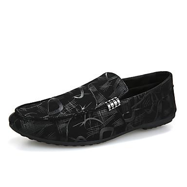 בגדי ריקוד גברים מוקסין PU אביב קיץ / סתיו חורף וינטאג' / יום יומי נעליים ללא שרוכים נושם קולור בלוק שחור / אדום / שחור לבן