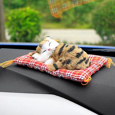 voordelige Auto-interieur accessoires-auto-ornamenten schattige simulatie slapende katten decoratie auto's mooie pluche kittens pop speelgoed