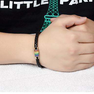 voordelige Herensieraden-Heren Lederen armbanden loom Bracelet Touw Regenboog Statement Stijlvol Punk modieus Rock Titanium Staal Armband sieraden Goud / Zilver Voor Feest Lahja Dagelijks Carnaval Club