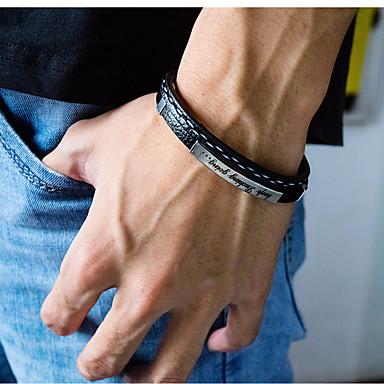 voordelige Herensieraden-Heren Lederen armbanden loom Bracelet Gevlochten Letter Statement Stijlvol Punk modieus Rock Titanium Staal Armband sieraden Goud / Zwart / Zilver Voor Feest Lahja Dagelijks Carnaval Club