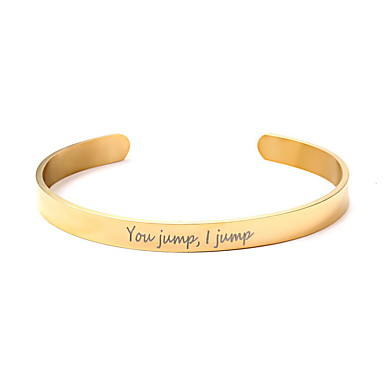cheap Customized Jewelry-Personalized Classic Bracelet Trendy Romantic Casual / Sporty Stainless Steel Gift Promise Festival 1pcs Gold Silver Rose Gold / Laser Engraving