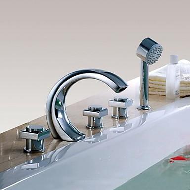 ברז לאמבטיה - עכשווי כרום חורים צדדיים שסתום פליז Bath Shower Mixer Taps