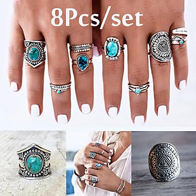 בגדי ריקוד נשים טבעת הגדר זירקונה מעוקבת 8pcs כחול סגסוגת מעגלי ארופאי חתונה תכשיטים חמוד