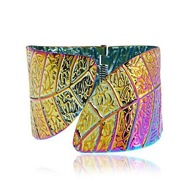 abordables Bracelet-Manchettes Bracelets Femme Géométrique Forme de Feuille Content Mode Bracelet Bijoux Dorée Argent Arc-en-ciel Demi-cercle pour Cadeau Quotidien