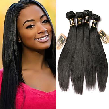 baratos Extensões de Cabelo Natural-4 pacotes Cabelo Malaio Liso 100% Remy Hair Weave Bundles Cabelo Humano Ondulado Cabelo Bundle Extensões de Cabelo Natural 8-28 polegada Côr Natural Tramas de cabelo humano Vida Macio Sedoso
