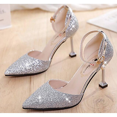 fc5fa52923 Women's PU(Polyurethane) Spring Wedding Shoes Kitten Heel Sequin Gold /  Black / Silver