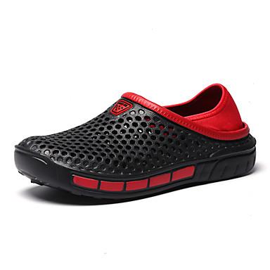 בגדי ריקוד גברים נעלי נוחות PU קיץ יום יומי נעליים ללא שרוכים הליכה נושם שחור / כחול כהה / אפור