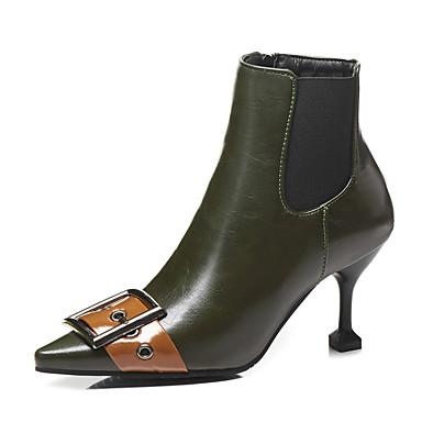 povoljno Ženske čizme-Žene Čizme Fashion Boots Sitna potpetica Krakova Toe PU Čizme do pola lista Vintage / Uglađeni Jesen zima Crn / Zelen / Zabava i večer