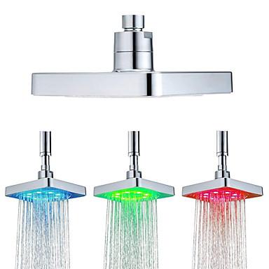 6 אינץ 'מרובע 3 צבעים שינוי טמפרטורת המים חיישן הוביל מקלחת בראש בראש מרסס מקלחת