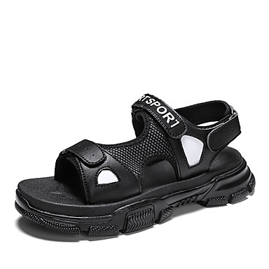 رخيصةأون Summer Sales-رجالي أحذية الراحة شبكة / PU للربيع والصيف كاجوال / شيك صنادل متنفس أسود / أسود وأبيض