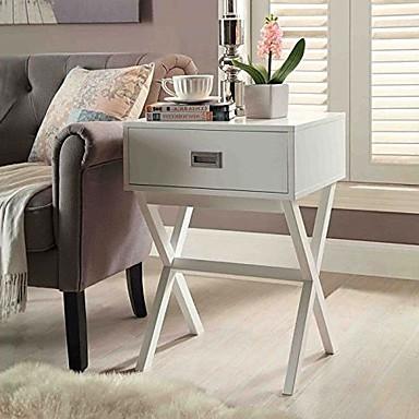 לבן מודרני 1-מגירה שולחן צד השולחן עם רגליים x