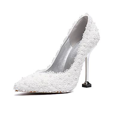 76c305bf43b Mujer Zapatos de boda Tacones de fiesta Tacón Kitten Dedo Puntiagudo Perla  de Imitación / Flor de Satén PU Vintage / Minimalismo Primavera verano /  Otoño ...
