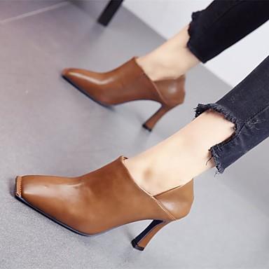 voordelige Dameslaarzen-Dames Laarzen Blokhak Schapenleer Korte laarsjes / Enkellaarsjes Winter Zwart / Beige / Khaki