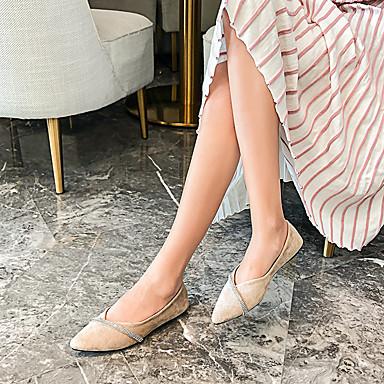 Kadın's Mokasen & Bağcıksız Ayakkabılar Düz Taban Sivri Uçlu Mikrofiber Yürüyüş İlkbahar & Kış Siyah / Bej