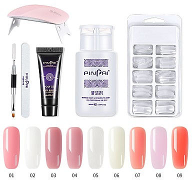voordelige Nagelgereedschap & Apparatuur-1 set nail poly gel set nail uv led extend builder acryl gel voor gebouw manicure nail art tip extension polygel kit