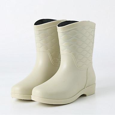 voordelige Dameslaarzen-Dames Laarzen Regenlaarzen Lage hak PVC Kuitlaarzen Herfst / Lente zomer Zwart / Beige