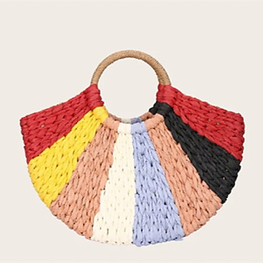 3bd8b04d68191 Women's Top Handle Bag Straw Color Block Yellow / Rainbow / Fall & Winter