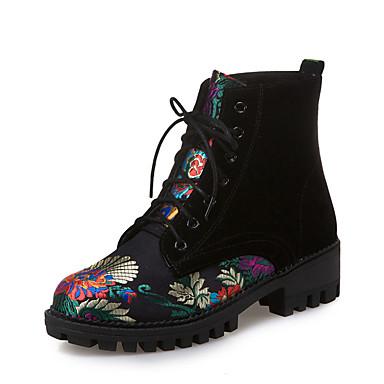 Kadın's Çizmeler Kalın Topuk Yuvarlak Uçlu PU Bootiler / Bilek Botları İngiliz / Çıtı Pıtı Sonbahar Kış Siyah